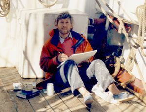 Gordon Frickers at work on board Maria Asumpta