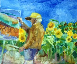 Gordon Frickers at work with sunflowers, painted by Jill Lane