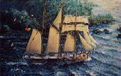 """The schooner """"Jane Banks"""" leaving Fowey, Cornwall"""