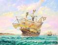 Portuguese Carrack fleet entering the Gironde circa 1490