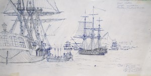 "The sketch that lead to ""Nelson at Gibraltar""."