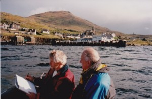With Calmac MD, Captain J Simkins at Castletown, Barra, Outer Hebrides.