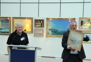 Presenting a drawing to my sponsor Brian Simson MEP