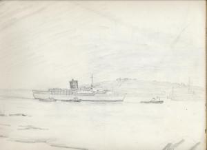Sketch, Uganda arriving at Falmouth to lay up