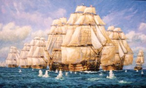 HMS Victory, Trafalgar, ranging shots begin to reach her