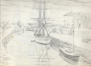sketch for October Evening, Charlestown