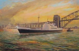 Bamora departing Sydney Harbour, progress to 02.01.15, unfinished