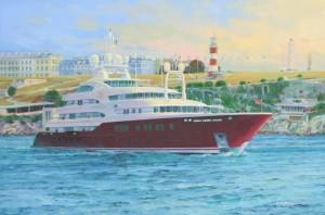 Sarafsa superyacht leaving Plymouth