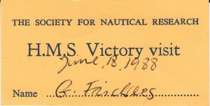 A very early connection with HMS Victory: SNR Victory visit 1988