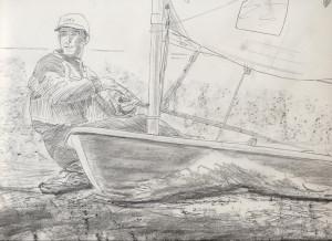 Ben Ainslie Laser sailing,sketch detail