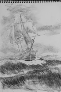 Sketch for possible painting of HMS Racehorse 31.03.2017