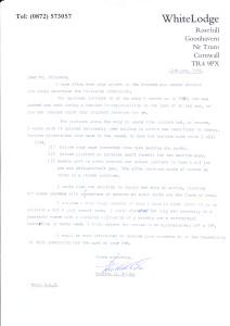 Mr. H. Mills letter