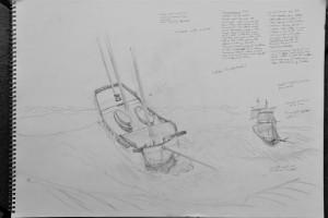 HMS Racehorse, preparatory sketch